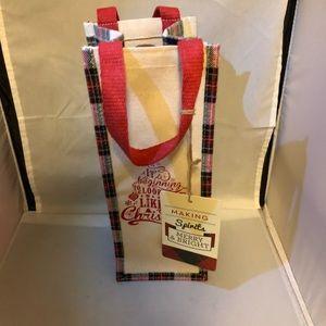 Christmas Canvas wine tote bag